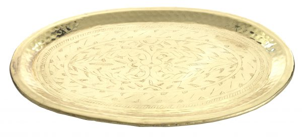 Alu Tray engraved oval, Brass-1340