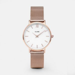 Cluse Minuit Mesh Rose Gold/White-0